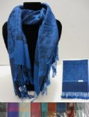 24 Units of Silky Scarf with Fringe--Leaf & Swirl Pattern