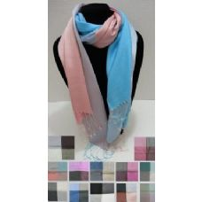 72 Units of Silky Scarf with Fringe-4 Color Block - Womens Fashion Scarves