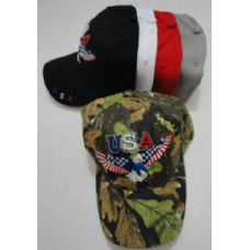 24 Units of USA Eagle Hat with Flag Wings - Hunting Caps