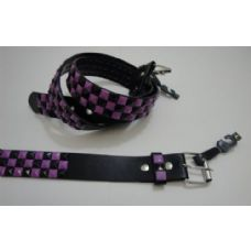 24 Units of Black Belt with Pyramid Studs-Black & Purple Checks - Unisex Fashion Belts
