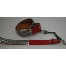 36 Units of Red Belt with Silver Pyramid Studs