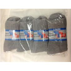 120 Units of Mens Gray Crew Socks, Sock Size 10-13 - Mens Crew Socks