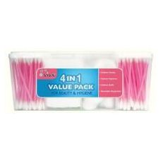 96 Units of 4 in 1 Cotton Swabs And Squares Family Pack - Bathroom Accessories