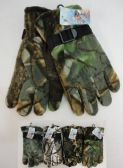 24 Units of Men's Hardwood Camo Fleece Gloves - Winter Gloves