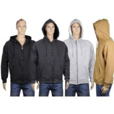 24 Units of Mens Thermal Zip Front Jacket With Sherpa Lining. BLACK ONLY - Mens Sweat Shirt