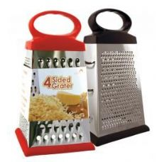 24 Units of Stainless Steel 4 sided grater Assorted Red And Black - Kitchen Gadgets & Tools