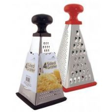 24 Units of Stainless Steel 4 sided grater - Assorted Red & Black - Kitchenware
