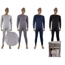 36 Units of Mens Fleece Thermal Set Light Gray Only