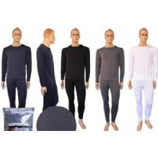 72 Units of MENS FLAT KNIT THERMAL SET ASSORTED COLOR