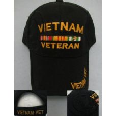 24 Units of Vietnam Veteran Hat-All Black - Military Caps