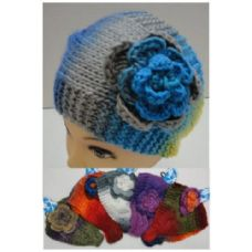 12 Units of Wide Hand Knitted Ear Band [Color Fade & Flower] *LOOP - Fashion Winter Hats
