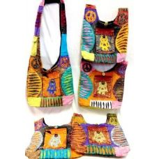 5 Units of Nepal Hobo Bags with Owl and Front Pocket Tie Dye Purse - Handbags