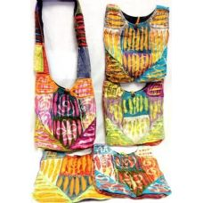 5 Units of  Nepal Cotton Hobo Bags Sling Purses with Tie Dye Cotton - Handbags