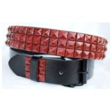 36 Units of Pyramid Studded Red Belt - Unisex Fashion Belts