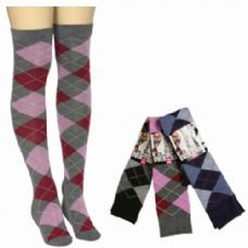 48 Units of Women Over The Knee Plaid Print Assorted Colors - Womens Over the knee sock