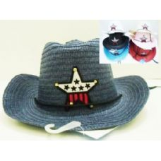 36 Units of Kids Cowboy Straw Hats Assorted Star Design - Cowboy & Boonie Hat
