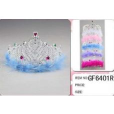 36 Units of Wholesale Plastic Girl Crown with feather - Headbands