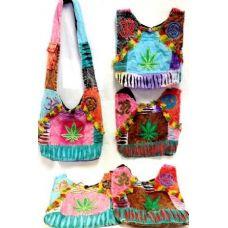 36 Units of Nepal Hobo Bags Tie Dye Marijuana Leaf Design Assorted - Handbags