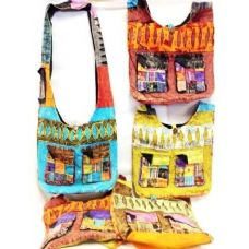 36 Units of Double Patchwork Pockets Nepal Handmade Crossbody Bag - Handbags
