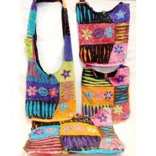 36 Units of Nepal Handmade Purse Large Flower Crossbody Bag - Handbags