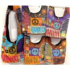 36 Units of Peace Sign with side Flower Ripped Fabric BAG Hobo - Handbags