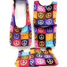 36 Units of Patch Peace Sign Cotton Hobo Bags Purses 5 pieces - Handbags