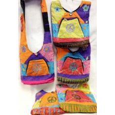 36 Units of Peace Sign Hobo Bags with Large Zipper Pocket Front - Handbags