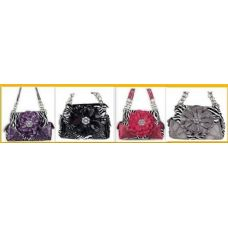 36 Units of  Rhinestone Flower Fashion Purse W/ Chain Handles - Leather Purses and Handbags