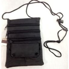 36 Units of Black Leather Sling Bags Adjustable length - Leather Purses and Handbags