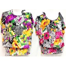 42 Units of Floral Open Shoulder One Size Shirts Tops