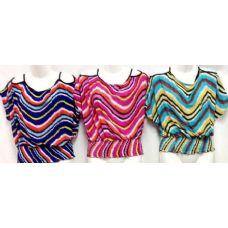 42 Units of Lady's Top Shirts Bright Colors with Open Shoulders