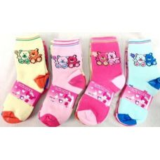 120 Units of Bear Girl Socks Size 4-6 & 6-8 Assorted Colors