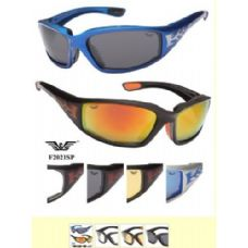72 Units of Motorcycle Foam Sunglasses Sports Style Assorted Colors - Sport Sunglasses