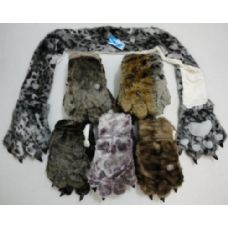 12 Units of Faux Fur Animal Scarf with Paw Gloves - Winter Sets Scarves , Hats & Gloves