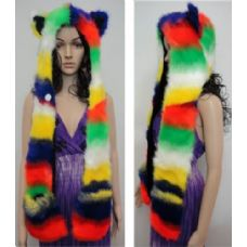 12 Units of Full Animal Hood with Mittens [Rainbow] - Winter Animal Hats