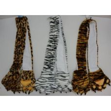 24 Units of Plush Animal Print Scarf with Paw Gloves