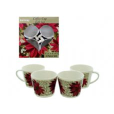 15 Units of 4 pack coffee cup set poinsettia design - Coffee Mugs