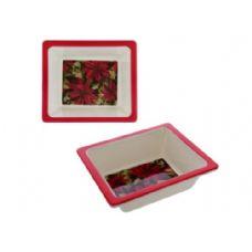 60 Units of melamine square dish poinsettia design