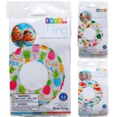 "36 Units of 20"" LIVELY PRINT SWIM RINGS IN PEGABLE POLY BAG, 3 ASSRT - Summer Toys"