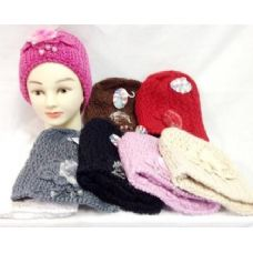 24 Units of Knit Girl Cap Hats with a fur ball and beads