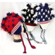 48 Units of American Flag Colored Mohawk Knit Hats with Ear Flaps