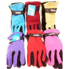 72 Units of Lady's Fleece Gloves Assorted Colors - Fleece Gloves