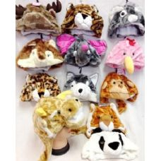 24 Units of Short Plush Animal Fuzzy Hats 12 different animals - Winter Animal Hats