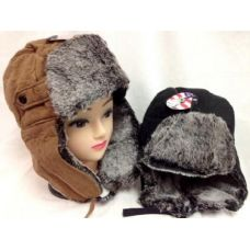 24 Units of Faux Fur Lined Boomer Hat Unisex Winter Hats - Trapper Hats