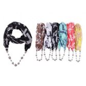 48 Units of Ladies Fashion Infinity Scarf With Chain - Womens Fashion Scarves