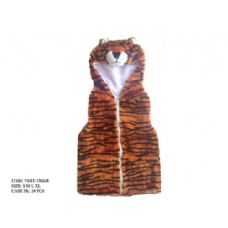 24 Units of Kids Vest With Animal Hoodie Tiger - Kids Vest