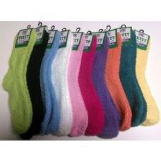 120 Units of Ladies Solid Color Fuzzy Sock Assorted Colors - Womens Fuzzy Socks