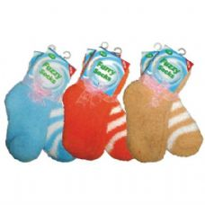 48 Units of Fuzzy Sock Kid 2PK Assorted Colors - Womens Fuzzy Socks