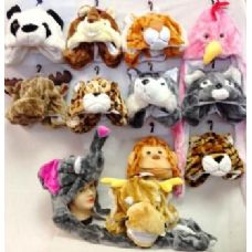 24 Units of Long Animal Hats w/ Mitten NICE ASSORTMENTS! - Winter Animal Hats
