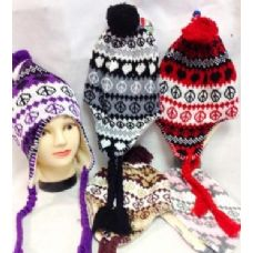 60 Units of Knit Peace Sign Winter Hats with Ear Flaps